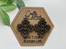 Load image into Gallery viewer, Fleur De Lis Wood Mandela Earrings