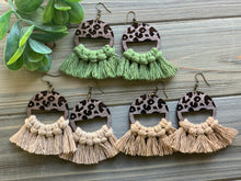 Load image into Gallery viewer, Leopard Wood and Macrame Earrings
