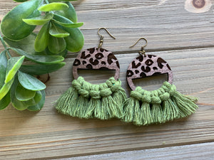 Leopard Wood and Macrame Earrings