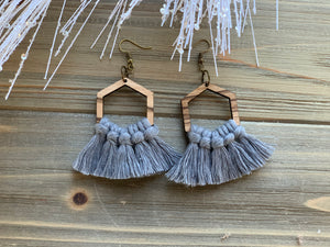 Zebra Wood and Macrame Earrings