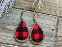 Load image into Gallery viewer, Walnut and Leather Inlay Holiday Earrings