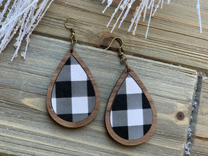 Walnut and Leather Inlay Holiday Earrings