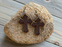 Load image into Gallery viewer, Wood and Genuine Leather Cross Earrings