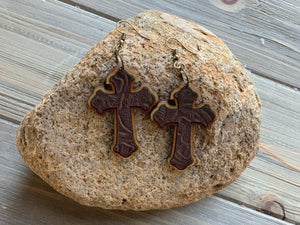 Wood and Genuine Leather Cross Earrings
