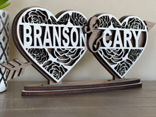Load image into Gallery viewer, Personalized Valentine's Split Monogram Heart Stand
