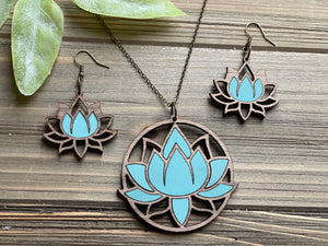 Lotus Flower Necklace and Earring Set