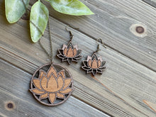 Load image into Gallery viewer, Lotus Flower Necklace and Earring Set