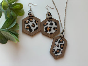Leopard Leather Inlay Earrings and Necklace Set