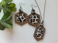 Load image into Gallery viewer, Leopard Leather Inlay Earrings and Necklace Set