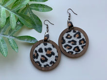Load image into Gallery viewer, Leopard Print Leather Inlay Earrings and Walnut Wood