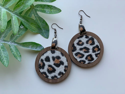 Leopard Print Leather Inlay Earrings and Walnut Wood