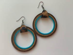 Teal Hoop Dangle Earrings