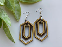 Load image into Gallery viewer, Long Hexagon Yellow and Walnut Earrings