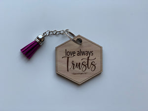 Wood Keychain Custom Engrave Love Always Trusts