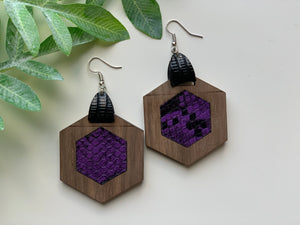Purple and Black Snake Skin Leather Inlay Earrings Walnut Wood