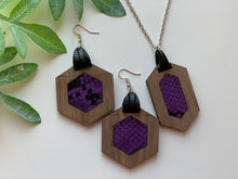 Load image into Gallery viewer, Purple Snake Skin Faux Leather Inlay Earring and Necklace Set