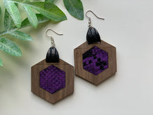 Load image into Gallery viewer, Purple and Black Snake Skin Leather Inlay Earrings Walnut Wood