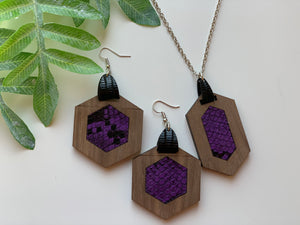 Purple Snake Skin Faux Leather Inlay Earring and Necklace Set