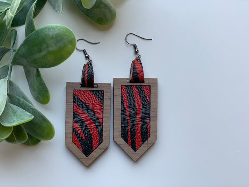 Red and Black Zebra Print Leather Earrings