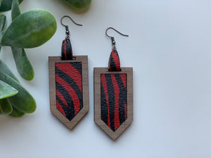 Red and Black Zebra Print Leather Earrings with Walnut