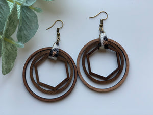 Rustic Walnut Wood Nested Shape Earrings