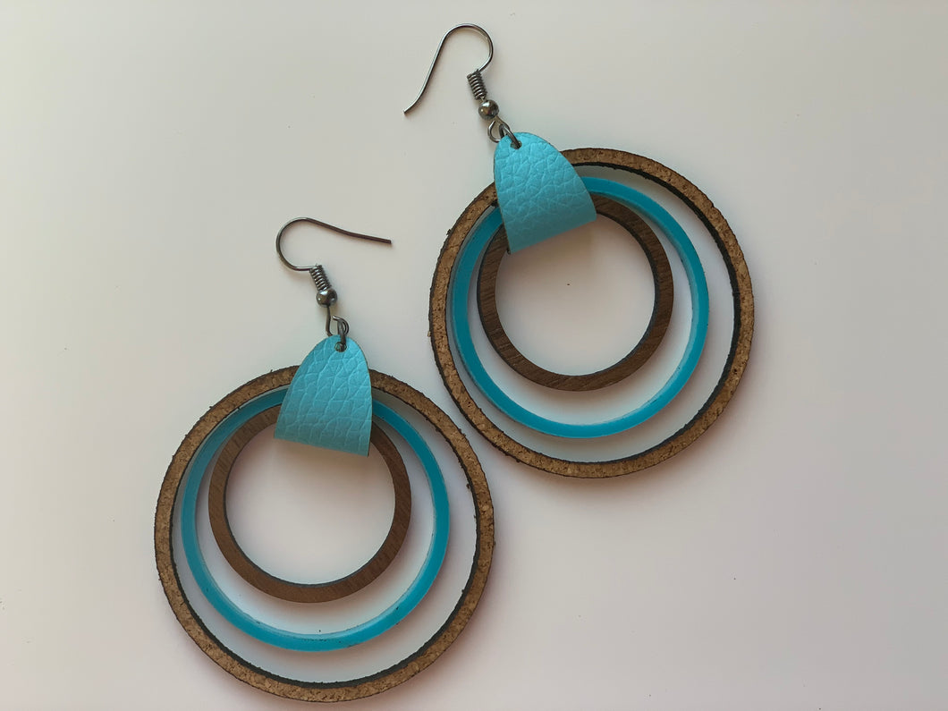 Teal and Wood Nested Hoop Earrings