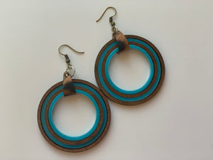 Teal Hoop Nested Shape Earrings