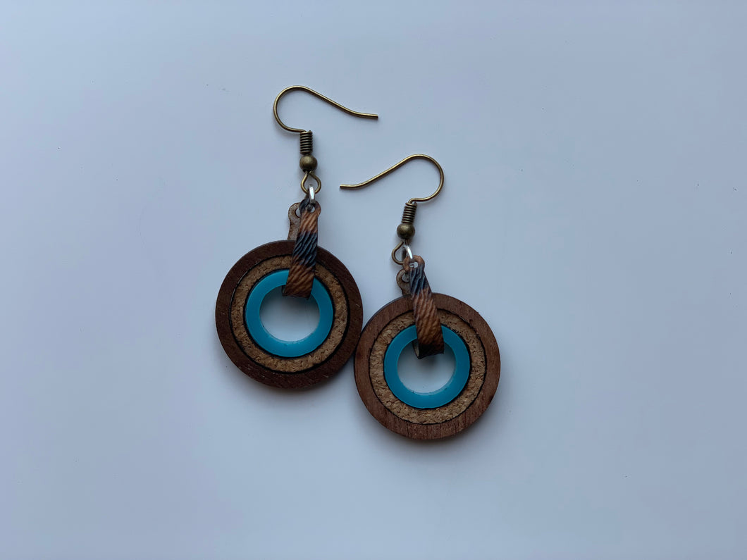 Small Nested Circle Shape Earrings Made Of Teal Cork Acrylic and Walnut