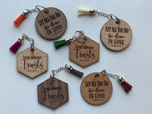Load image into Gallery viewer, Wood Keychain Custom Engrave Love Always Trusts