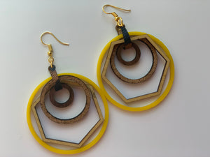 Yellow Nested Hoop Earrings