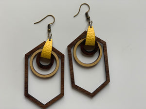 Yellow Hexagon and Circle Nested Shape Earrings