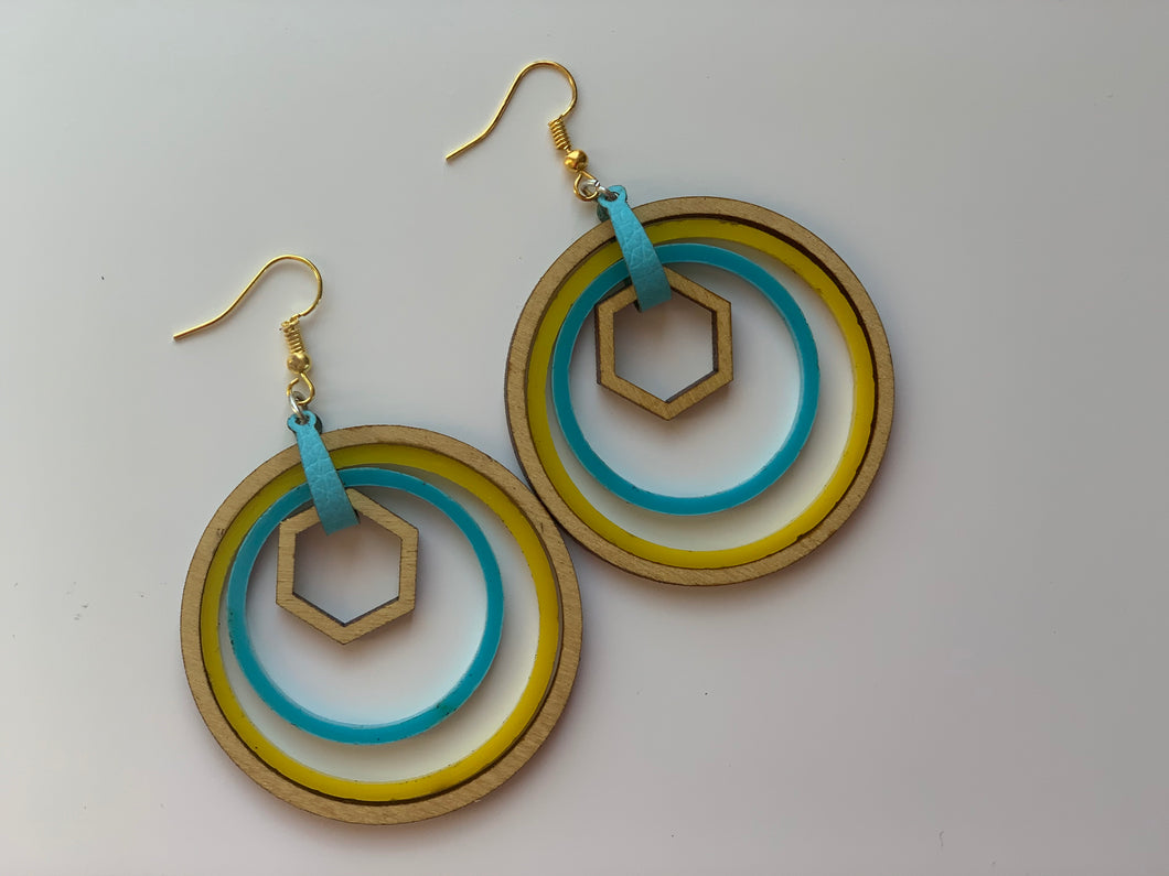 Yellow and Teal Nested Circle Shape Earrings