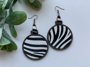 Zebra Print Leather Inlay Earrings Walnut Wood