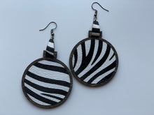 Load image into Gallery viewer, Black and White Zebra Print Earrings Leather Inlay Walnut Wood