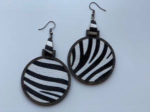Black and White Zebra Print Earrings Leather Inlay Walnut Wood