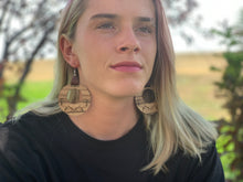 Load image into Gallery viewer, Zebra Wood Boho Dangle Hoop Earrings