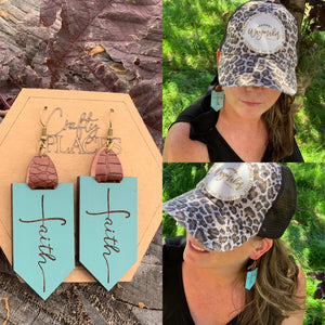 Turquoise Custom Engraved Faith Earrings - Earrings With Custom Engraved Faith - Leopard Print Vintage Trucker Hat with Bible Verse