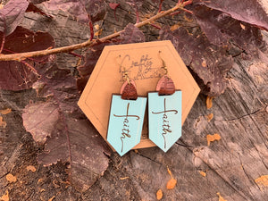Turquoise Custom Engraved Faith Earrings - Earrings With Custom Engraved Faith
