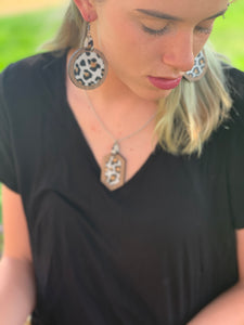 Leather Leopard Inlay Walnut Earring and Necklace Set