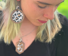 Load image into Gallery viewer, Leather Leopard Inlay Walnut Earring and Necklace Set