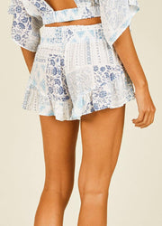 Blue Patchwork <br>Print Shorts