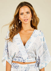Blue Patchwork <br>Print Top