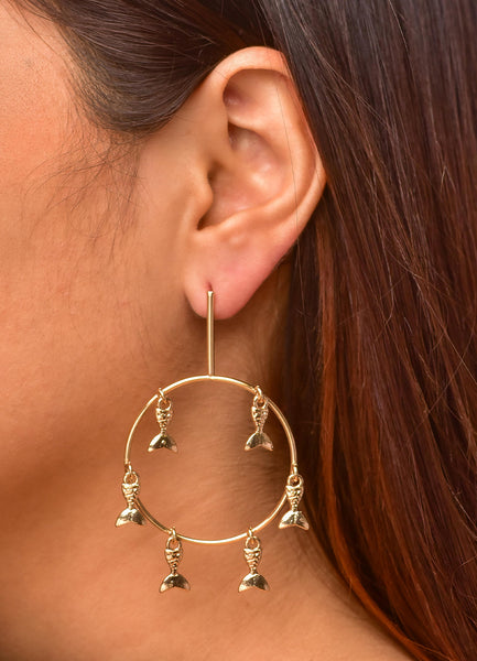 Fish Hanging <br>Gold Earrings