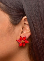 Flower Beaded <br>Stud Earrings