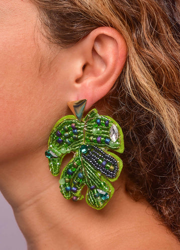 Leaf Beaded <br>Earrings