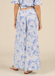 Blue Palm <br>Leaf Print Pant