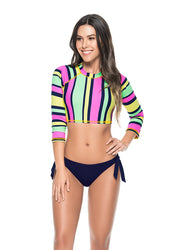 Crop Striped <br>Bikini Set