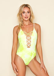 Caged Golden <br>Tie Dye One Piece