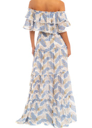 Chiffon Leaves <br>Maxi Dress