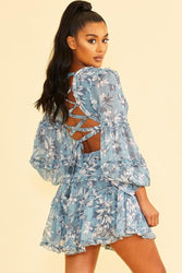Blue Florals <br>Mini Dress